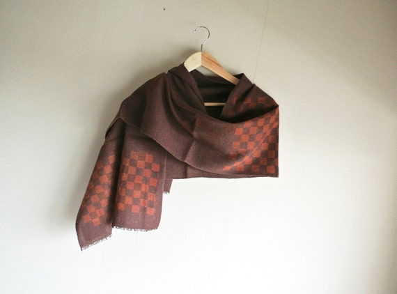 Sample SALE Natural Madder dyed Katazome stencil checker board Linen/Wool scarf