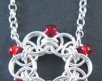 Sterling Silver Helm Chain Necklace with Red Beads