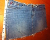 Denim Cut up Distressed Waisted Faded Blue Denim Mini Skirt with Orange Stitching Jean Skirt