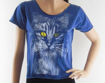 Cat Yellow Eyes Style shirt Kitten top Meow Tshirt Cat Shirt Animal Tee Women Crop Top Crop Tee gift tee tumber crop top Screen Print Size M
