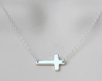 Sideways Cross Necklace, tiny horizontal cross, silver cross necklace, gold cross necklace, custom necklace, Kelly Ripa, Kourtney Kardashian