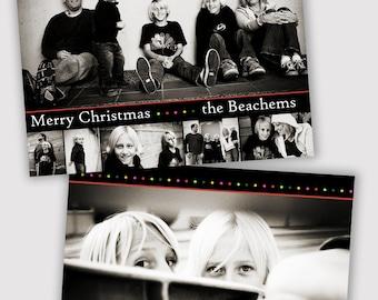 Multi Photo, Holiday Card Template, Photographers, PSD, WHCC, 5x7 flat and folded, christmas photo card