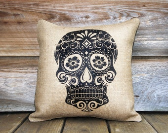 Day of the Dead Pillow, Throw Pillow, Día de los Muertos, Sugar Skull