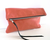 Distressed Coral Leather Clutch