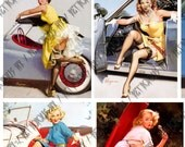 Vintage Pin Up Girls Digital Collage Sheet - Elvgren Pin Up In Cars - 8 Images (1 x A4)
