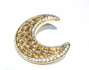OVER THE MOON Rhinestone and Goldenrod color Brooch Pin by Monet