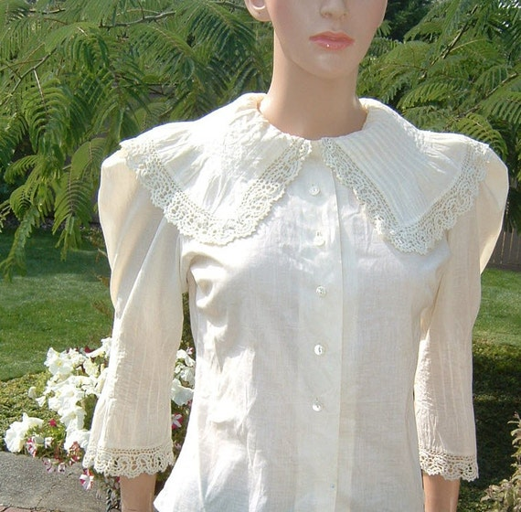 1890 La Belle Époque Era Edwardian Cream Blouse with Buster Brown Collar French Seams Gigot Sleeves
