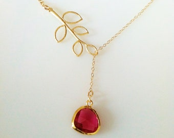 branch with faceted tear drop fuschia gold frame glass necklace,fuchsia necklace,sister necklace,twigs jewelry necklace,bridesmaid necklace