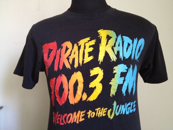 80s Vintage Pirate Radio Welcome to the Jungle T-Shirt - LARGE