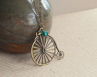 Bicycle Pendant Penny Farthing Necklace Boho Large Antique Bronze Vintage Bike Steampunk Green Fashion Jewelry Teen Girl Gift