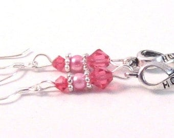 """Bright Pink Swarovski Crystal & Pearl Hope Ribbon """"Breast Cancer Awareness"""" Earrings, BCA Style 6, Pink Jewelry, Pink Earrings"""