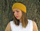 Mustard knit headband, yellow winter ear warmer