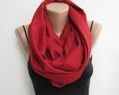 Pashmina infinity scarf, dark red loop scarf, gift for her