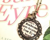 Jane Eyre and Mr Rochester Antiqued Bronze Book Page Necklace from Charlotte Bronte's Novel