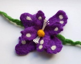 Felt flower pin, wet felted wool flower, felt jewelry, purple, white and orange, felt flower hair clip, flower felt pin, corsage big flower