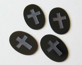 2 Thin Black Onyx stones with Cross
