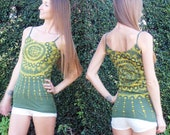 Long Green Tank Top, Boho Tank Top, Batik with Yellow Sun Rays, Hippie Clothing, Yoga Tank Top, Gift for Teen Girl, Festival // XS