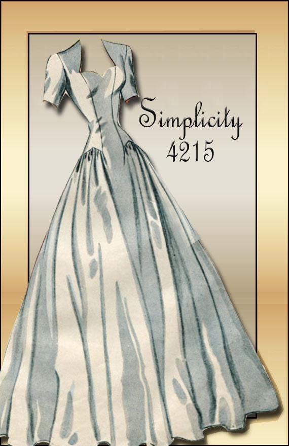 Vintage wedding gown pattern simplicity 4215 1940s bridal for Wedding dress patterns vintage