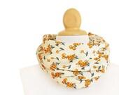 Cotton Infinity scarf - women scarf, beige fruits boho circle scarf - CG