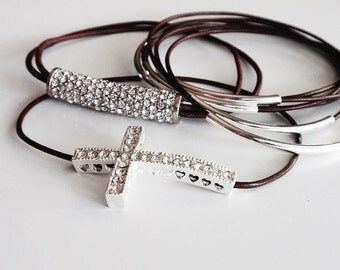 Brown Leather Bangle Bracelet, Leather Bracelets for Women, Silver Tube, Pave Crystal, Sideways Cross, Leather Jewelry, Silver Bangle, Gold