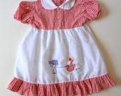 Girls Gingham Dress Red and White with Embroidery Size 2T to 3T