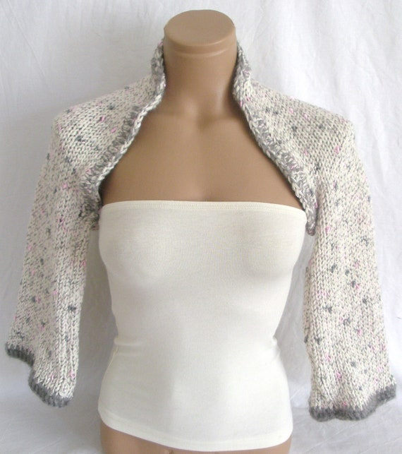 DISCOUNTED - Hand knitted crocheted (White, Gray, Pink) long sleeve bolero, shrug by Arzu's Style