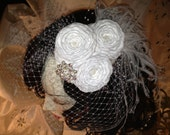 White Wedding Bridal Birdcage Veil Hair Fascinator