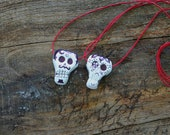 PDF Complete Instructions with Photos Dia De Los Muertos Sugar Skull Craft Clay Necklace