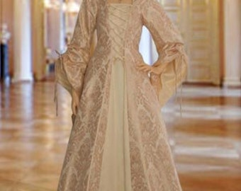 Renaissance Maiden Dress Gown with Hood, Handmade from Brocade, Multiple Colors Available