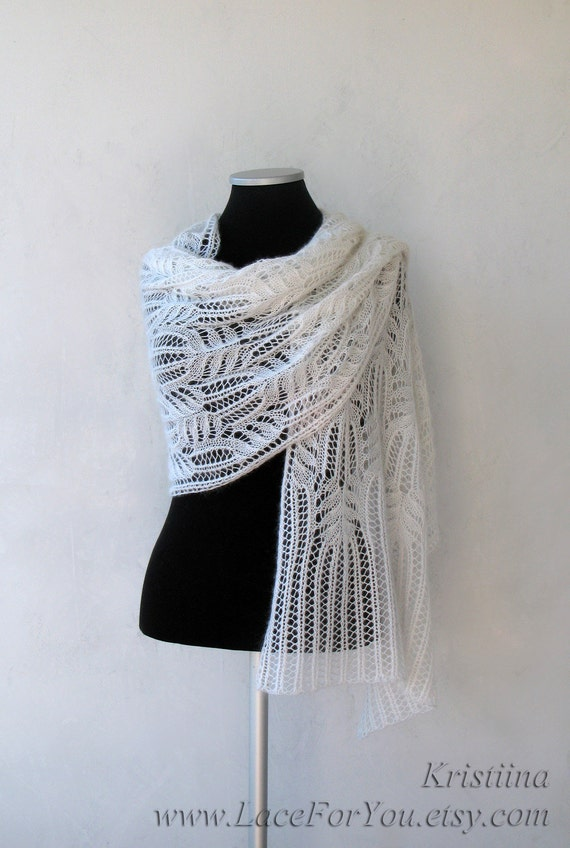 White wedding shawl with Frosty Flowers Lace pattern