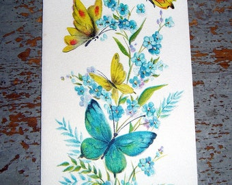 Vintage Cards, Thinking Of You, Butterflies, Blue, Flowers, Hallmark, Floral, Unused