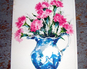 Vintage Card, Get Well Card, Floral, Pink, Flowers,  Vase, Hallmark, Unused