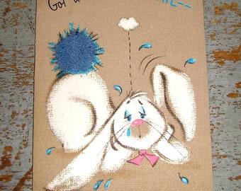 Vintage Cards, Miss You, Rabbit, Hallmark, Blue, Bunny, Unused