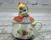 Vintage Tea Pot Little Red Riding Hood Hull USA stamped on bottom 1950s