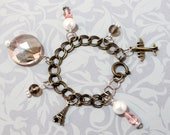 Travel Paris Brass Charm Bracelet- Chunky bracelet, Preppy, Teen, Fun Jewelry, Soft Pink,Vintage Inspired