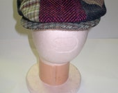 Vinage Tweed Patchwork Wool Hat by Hanna Hats of Donegal Ireland sz.Large