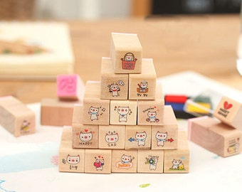 20 pcs Wooden Rubber Stamp Set - Rubber Stamp Set - Diary Stamps - Korean Stamps - Pig