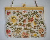 Floral Beaded Gold Frame 1960's Evening Purse Clutch