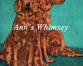 Irish Setters Dog Print Antique Restored  Art 1930s Print