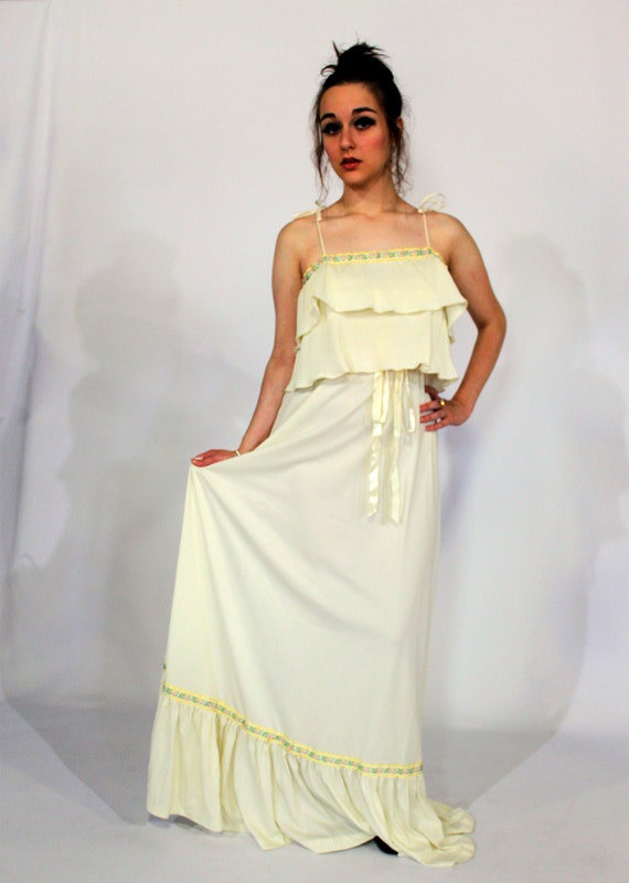 RESERVED 1970s Bohemian Gunne Sax-Inspired Flowing White Tiered Maxi Dress w/ Tapestry Trim