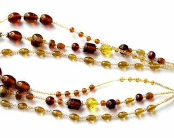 Autumn Glass Necklace 3 Strand Vintage Collectible Jewelry Amber  Brown Yellow Eclectic Bead Necklace