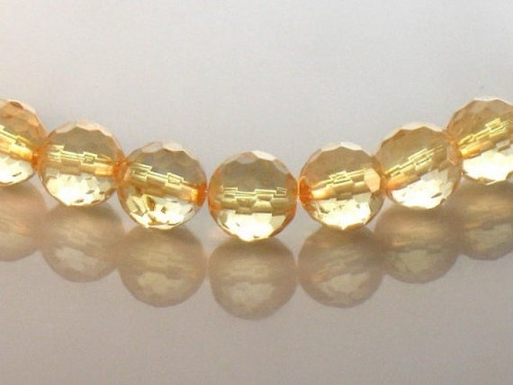 AAA Citrine Round Beads 8mm Microfaceted Golden Yellow Sparkling Gemstone For Hand Made Jewelry Design Half Strand