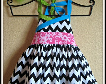 12-18m Ready to Ship Crossover Dress & Combo Bow, Chevron, Party Dress