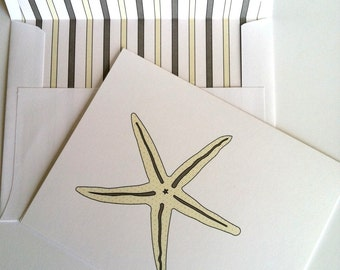 Star Fish Coastal Stationery - Sea Star Beachy Note Card with coordinating striped lined white envelope