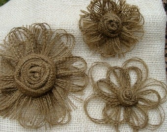 Mocha Brown Burlap Flower Set of 3 - Rustic, Country, Western, Vintage - Cake Topper