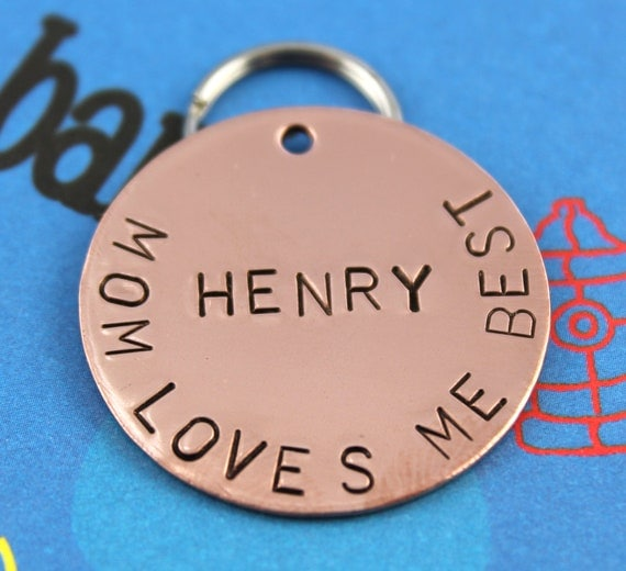 LARGE Dog Tag - Custom Copper Hand Stamped Pet Tag - Personalized Metal Dog ID Tag
