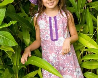 Floral Dress,Toddler Girl Dress,Holiday Dress,Purple Pink Retro dress,Birthday Dress,Summer Dress,Toddler Dress,Ready To Ship.
