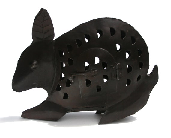 Patio Lantern Art METAL Welded Armadillo Tea Light Sculpture with Votive Candle Stand for Your Yard Cottage or Loft