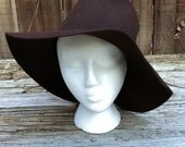 1970s Wool Wine Colored Floppy Hat