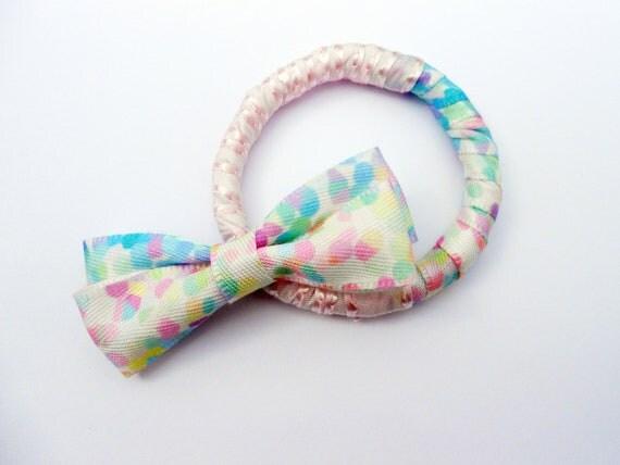 Pastel Dots Hair Bow and Bracelet Set